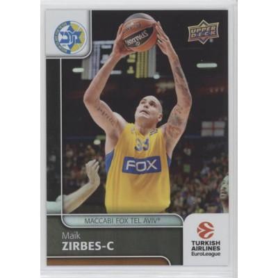 Коллекционная карточка 2016-17 Euroleague #92 MAIK ZIRBES (Maccabi Fox Tel Aviv)
