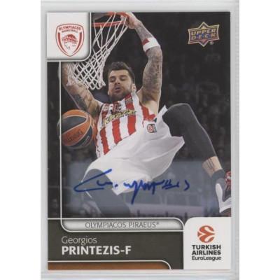 Коллекционная карточка 2016-17 Euroleague Autograph GEORGIOS PRINTEZIS (Olympiacos Piraeus)