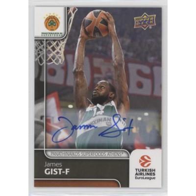 Коллекционная карточка 2016-17 Euroleague Autograph JAMES GIST (Panathinaikos Athens)