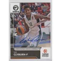 Коллекционная карточка 2016-17 Euroleague Autograph WILL CLYBURN (Darussafaka Istanbul)