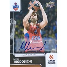 Коллекционная карточка 2016-17 Euroleague Autograph MILOS TEODOSIC (CSKA Moscow)