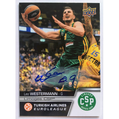 Коллекционная карточка 2015-16 Euroleague Autograph LEO WESTERMANN (Limoges CSP)