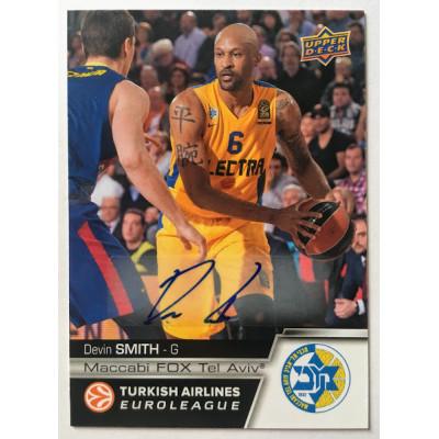 Коллекционная карточка 2015-16 Euroleague Autograph DEVIN SMITH (Maccabi Tel Aviv)