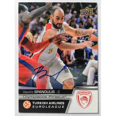 Коллекционная карточка 2015-16 Euroleague Autograph VASSILIS SPANOULIS (Olympiacos Piraeus)