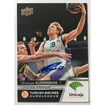 Коллекционная карточка 2015-16 Euroleague Autograph MINDAUGAS KUZMINSKAS (Unicaja Malaga)