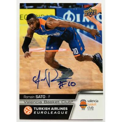 Коллекционная карточка 2015-16 Euroleague Autograph ROMAIN SATO (Valencia Basket Club)