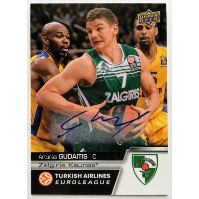 Коллекционная карточка 2015-16 Euroleague Autograph ARTURAS GUDAITIS (Zalgiris Kaunas)