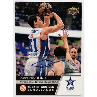 Коллекционная карточка 2015-16 Euroleague Autograph THOMAS HEURTEL (Efes Istanbul)
