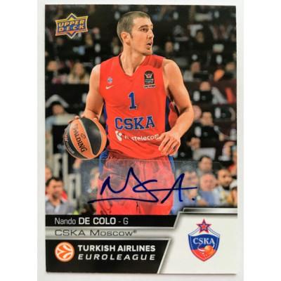 Коллекционная карточка 2015-16 Euroleague Autograph NANDO DE COLO (CSKA Moscow)