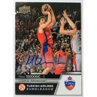 Коллекционная карточка 2015-16 Euroleague Autograph MILOS TEODOSIC (CSKA Moscow)
