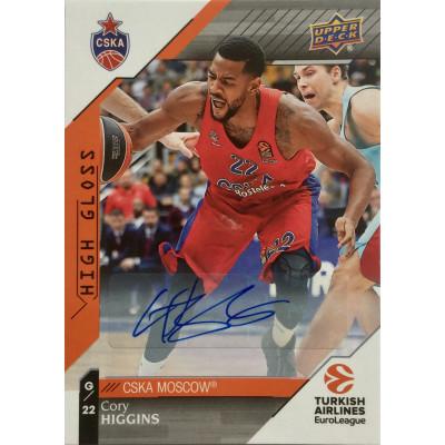 Коллекционная карточка 2017-18 Euroleague Autograph Cory Higgins (CSKA Moscow)