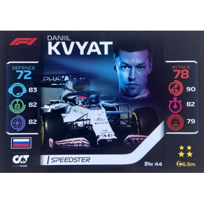 ДАНИИЛ КВЯТ (Альфа Таури) 2020 Topps Formula 1 Turbo Attax #44