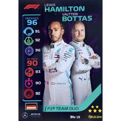 ЛЬЮИС ХЭМИЛТОН / ВАЛТТЕРИ БОТТАС (Мерседес) 2020 Topps Formula 1 Turbo Attax #15