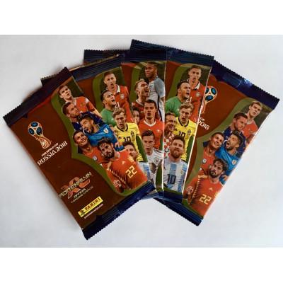 5 пакетиков (по 6 карточек) по коллекции Adrenalyn XL FIFA World Cup 2018. Panini.