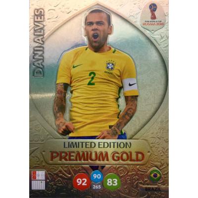 ДАНИ АЛВЕС (Бразилия) Panini Adrenalyn XL FIFA World Cup 2018. Limited Edition Premium Gold.