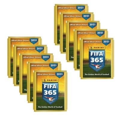 10 пакетиков с наклейками (5 шт. в каждом) 2021 Panini FIFA 365