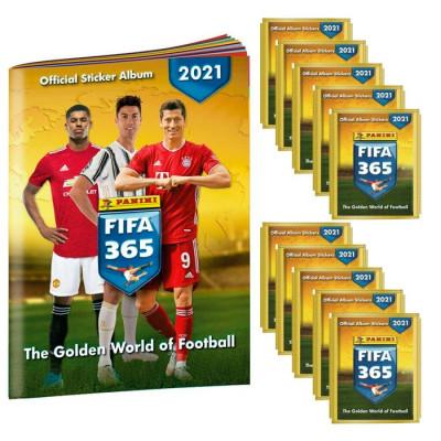 10 пакетиков с наклейками (5 шт. в каждом) 2021 Panini FIFA 365 + Альбом для наклеек