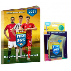 1 блистер наклеек (5 пакетиков) 2021 Panini FIFA 365 + Альбом для наклеек