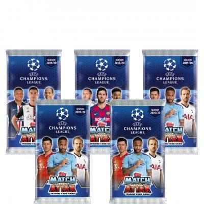 5 пакетиков (по 6 карточек в каждом) по коллекции 2019-20 Topps Match Attax UEFA Champions League