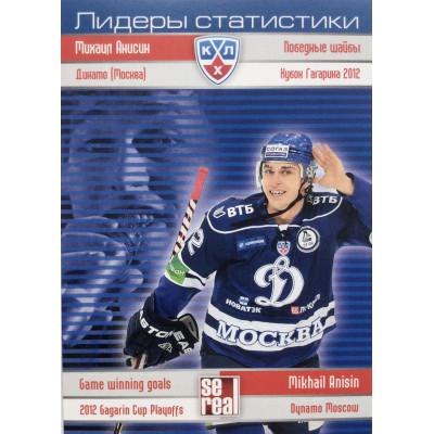 МИХАИЛ АНИСИН (Динамо Москва) 2012-13 Sereal КХЛ (5 сезон) Лидеры статистики