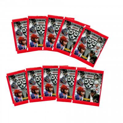 10 пакетиков с наклейками (5 штук в каждом) 2020-21 Panini КХЛ 13 сезон