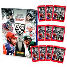 10 пакетиков с наклейками (5 штук в каждом) 2020-21 Panini КХЛ 13 сезон + Альбом