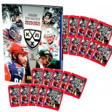 20 пакетиков с наклейками (5 штук в каждом) 2020-21 Panini КХЛ 13 сезон + Альбом